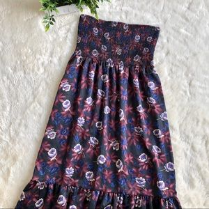 Free people blue red floral strapless maxi dress